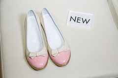 Female ballet flats are on the shelf, the new collection Royalty Free Stock Image