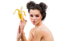 Female with banana Royalty Free Stock Images