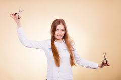 Female barber with trimmers scissors. Stock Photos