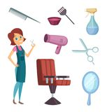 Female barber at work. Stylist with different tools for barbershop. Fashion pictures in cartoon style Royalty Free Stock Photography