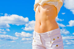 Female bare stomach Royalty Free Stock Photos