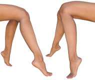 Female barefoot sitting legs - left and right views Royalty Free Stock Photos