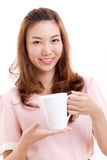 Female bartender, barista holding coffee cup Stock Image