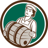 Female Bartender Carrying Keg Circle Retro Royalty Free Stock Photography