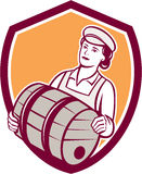 Female Bartender Carrying Keg Shield Retro Royalty Free Stock Photos