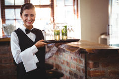 Female bartender holding a serving tray with two cocktail glass Stock Photography