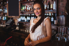 Female bartender standing at bar counter. Portrait of female bartender standing at bar counter Stock Photo