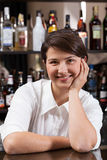 Female bartender at work Stock Image
