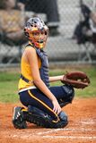 Female Baseball Catcher Portrait Photo during the Game at Daytime Stock Images
