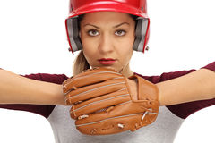 Female baseball player ready to pitch Royalty Free Stock Image