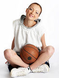 Female basket ball player. Young beautiful female basket ball player Stock Photos