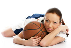 Female basket ball player. Young beautiful female basket ball player Royalty Free Stock Photos