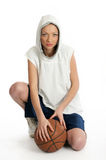 Female basket ball player. Young beautiful female basket ball player Royalty Free Stock Image