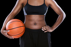 Female  with basketball Stock Photos