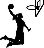 Female Basketball Player. On basket royalty free illustration
