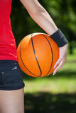Female basketball player. Close up of female basketball player stock image