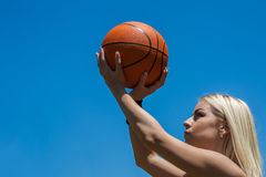 Female basketball player. Portrait of female basketball player royalty free stock photo