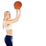Female basketball player is ready to shoot Royalty Free Stock Photography
