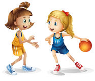 Female basketball players. Illustration of the female basketball players on a white background Royalty Free Stock Photos