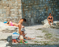 Female beach in the Bulgarian Nessebar Royalty Free Stock Photography