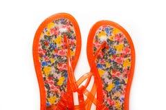 Female beach sandals on white background stock image