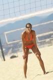 Female Beach Volleyball Player In Bikini Royalty Free Stock Photography
