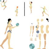 Female beach volleyball players. Kit for creating illustrations of female beach volleyball players Royalty Free Stock Photography
