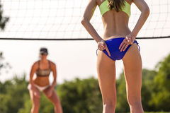 Female Beach Volleyball Players Royalty Free Stock Photography