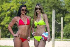 Female Beach Volleyball Players Stock Image