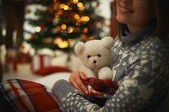 Female with bear toy Stock Photos