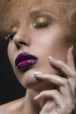 Female beauty portrait with a vanguard make-up royalty free stock photo