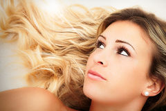 Female beauty. Young blond hair girl face. Royalty Free Stock Photos