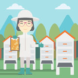 Female bee-keeper at apiary vector illustration. Stock Photo
