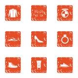 Female beginning icons set, grunge style. Female beginning icons set. Grunge set of 9 female beginning vector icons for web isolated on white background Royalty Free Stock Photo