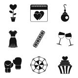 Female beginning icons set, simple style. Female beginning icons set. Simple set of 9 female beginning vector icons for web isolated on white background Stock Photos