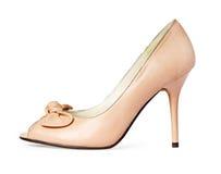 Female beige shoes isolated Royalty Free Stock Image