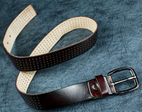 Female belt against from a  leather Stock Photo