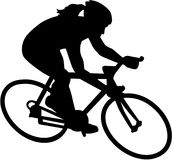 Female Bike Bicycle Cyclist. Silhouette vector illustration