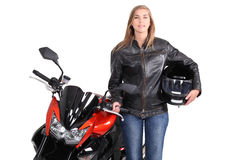 Female biker Stock Photography