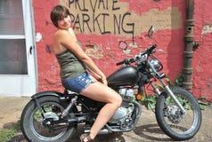 Female biker. Royalty Free Stock Photo
