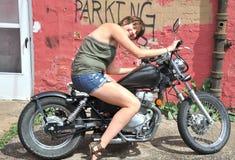 Female biker. Stock Photos