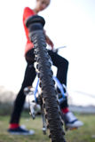 Female biker outdoors on her mountain bike Stock Image