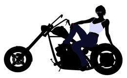 Female Biker Silhouette Stock Photography