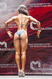Female bikini fitness model Evelyn Dirocie shows her best back p Royalty Free Stock Photo