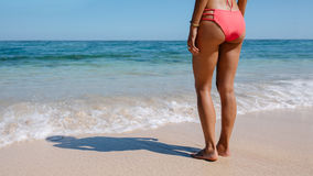 Female in bikini standing on the sea shore Royalty Free Stock Photography