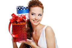 Female with birthday  presen Royalty Free Stock Image