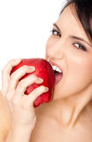 Female biting red apple Stock Photography