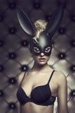 Female with black bynny mask Stock Image