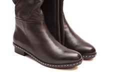 Female black high boots Royalty Free Stock Photography
