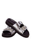 Female black sandals with stones and crystals, purse, cover for a passport, business card, on a white isolated Royalty Free Stock Photos